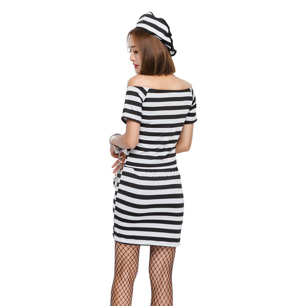 Sexy Striped Black Boat Neck Prisoners Costumes Suit Cosplay for Women Halloween Game Stage Bar Police Costume Cosplay
