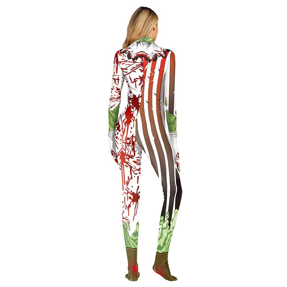 Halloween Adult Women Full Body Lycra Spandex Horror Clown Zentai Suit Cosplay Costumes