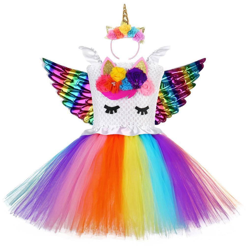 Girls Unicorn Tutu Dress with Headband Fancy Cosplay Tutu Dress Tulle Costume Outfit