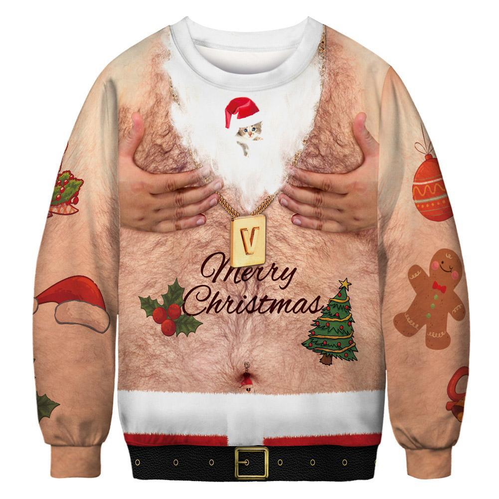 Women 2019 Ugly Christmas Sweatshirt Vacation Santa Elf Funny Christmas Fake Hair Jumper Tops Clothing