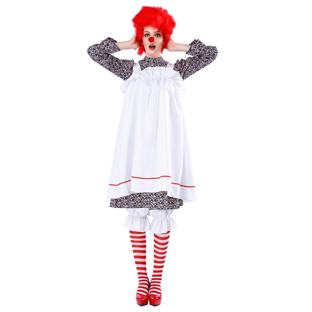 Halloween Women Humor Circus Clown Costume Fancy Party Cosplay Outfit