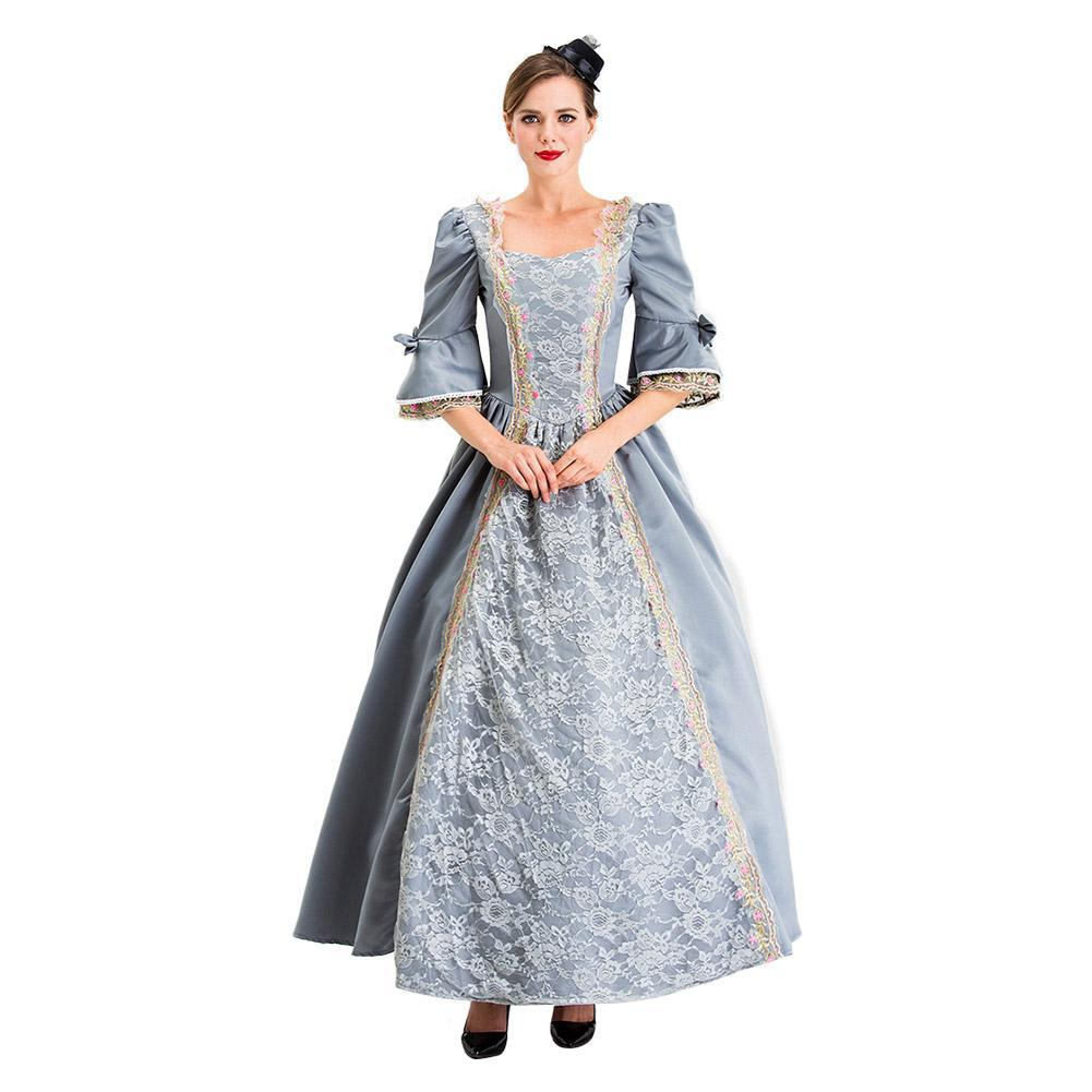 Women Retro Court Evening Square Collar Renaissance Long Flare Sleeve Dress Adults Retro Lace Up Halloween Costume