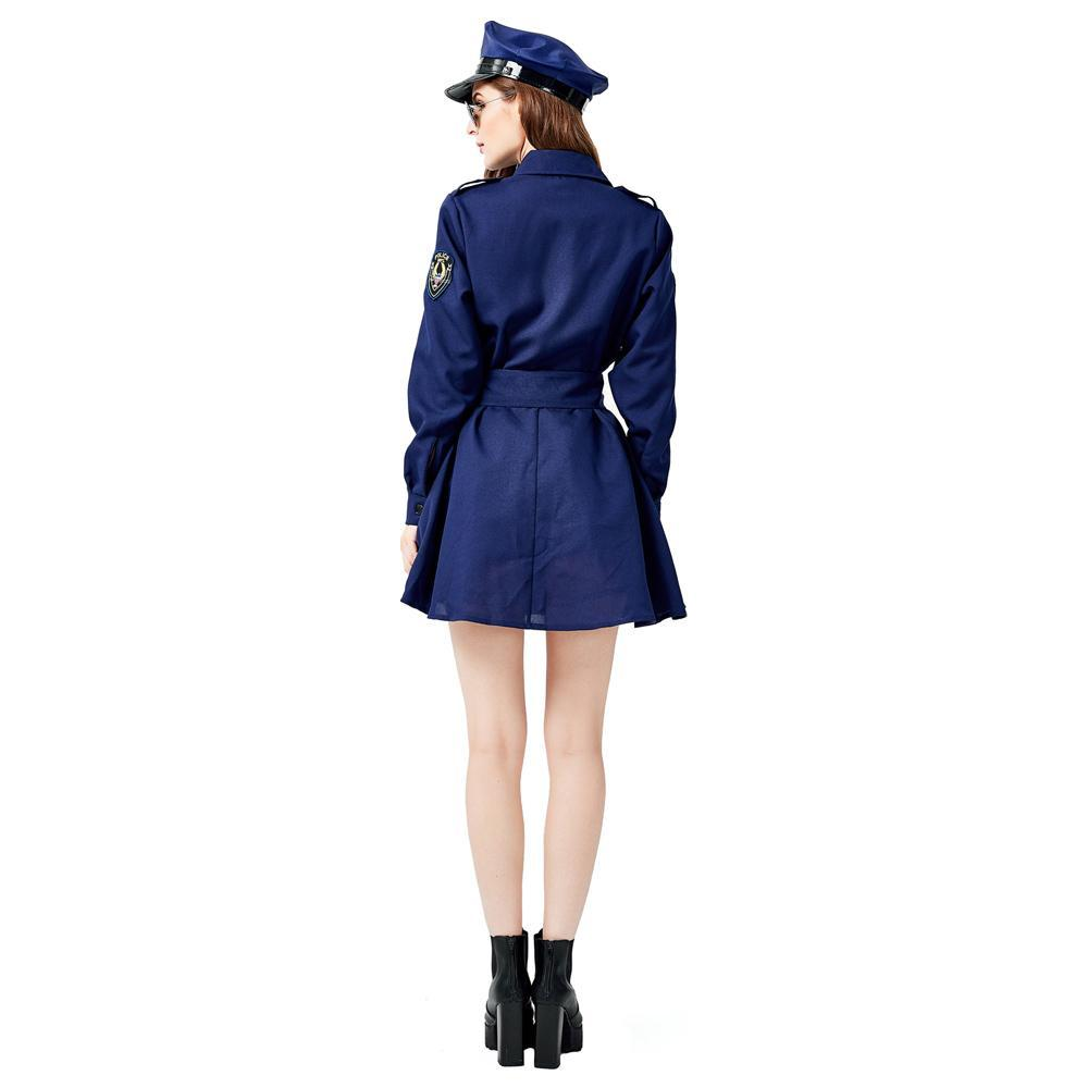 Women's Black Police Officer Uniform Costume With Hat