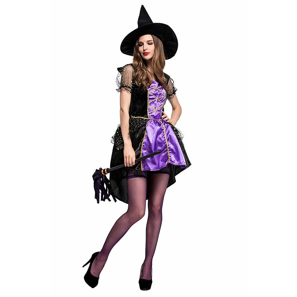 Halloween Women Costume Purple Witch Woman Dresses with Hat Carnival Cosplay Costumes Sorceress Clothes
