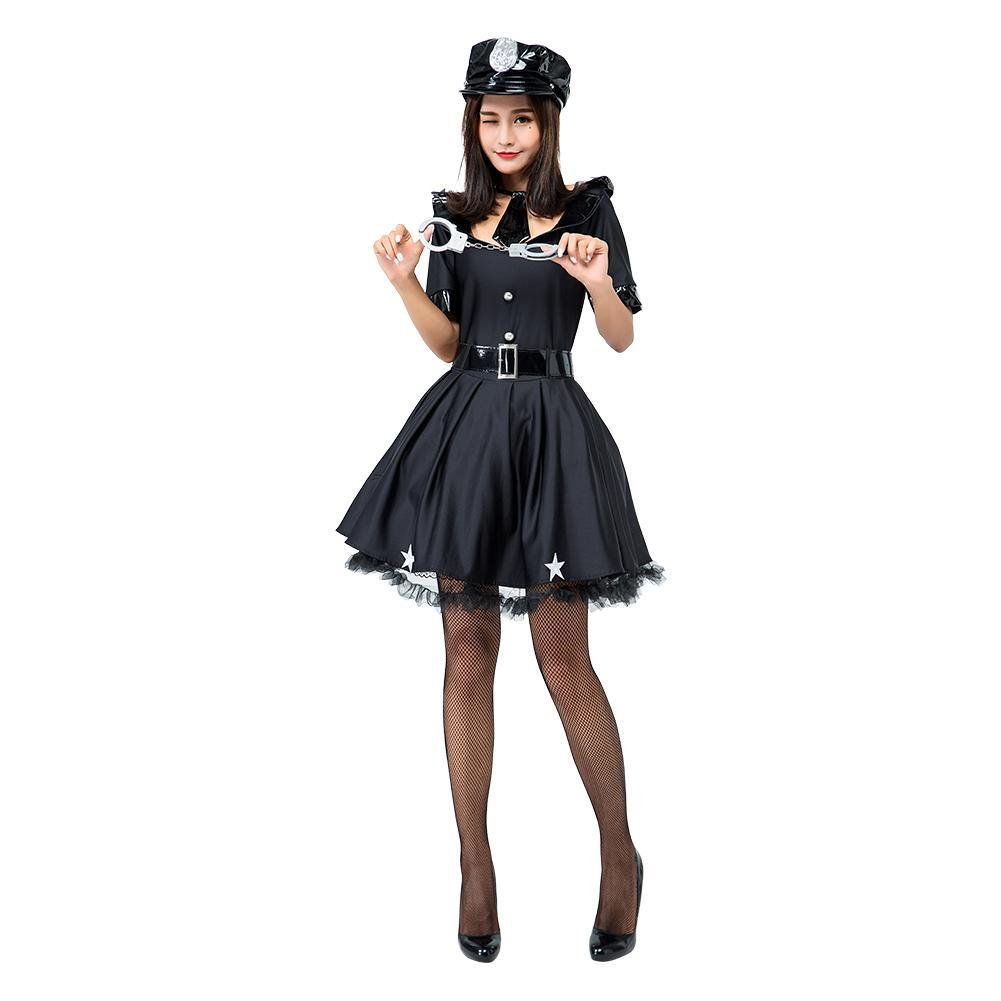 Women Policewoman Uniform Dress Halloween Cosplay Fancy Dress Costume