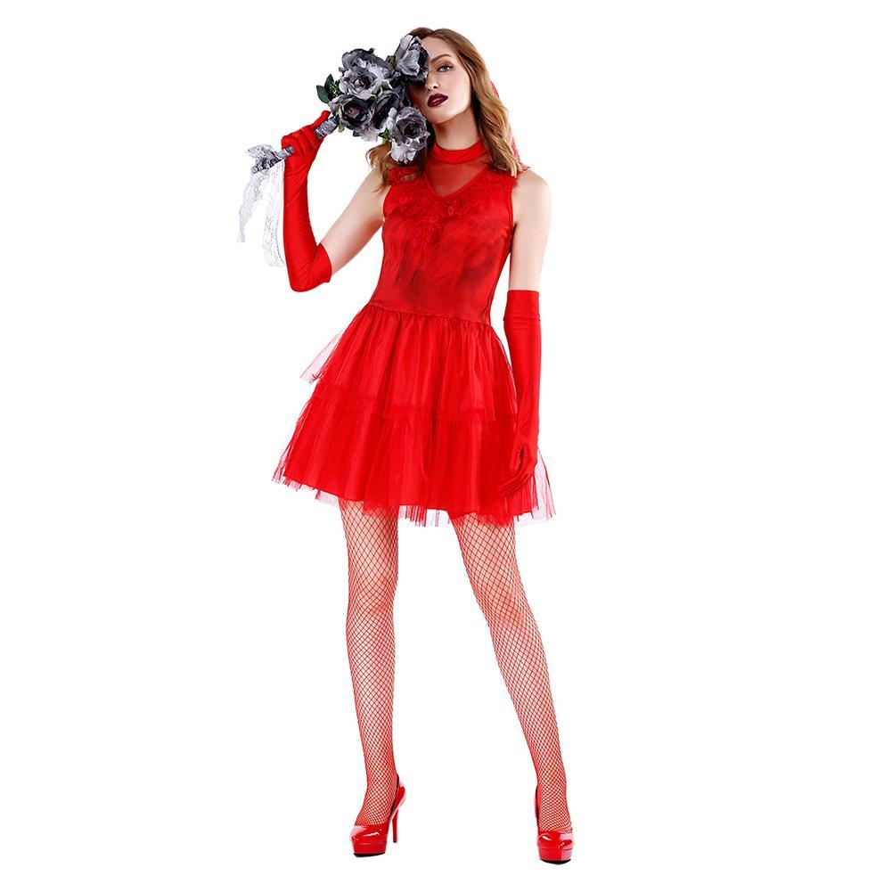 Women Halloween Ghostly Bride Wedding Dress Red Cosplay Wedding Dress Costume