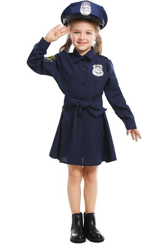 Kids Girls Toddlers Halloween Cosplay Costume Policeman Officer Suit Outfit