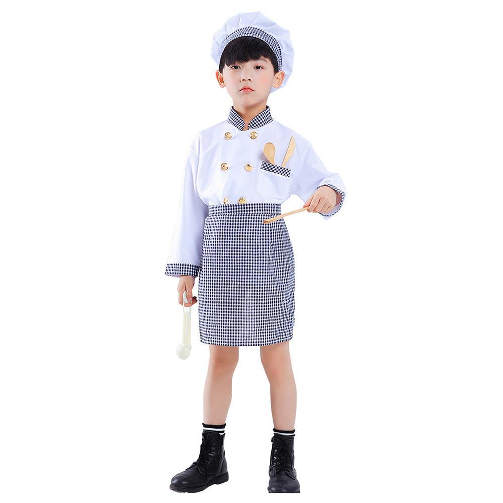 Kids Role Play Dress Up Pretend Chef Costume Playset for Halloween Performance Outfit