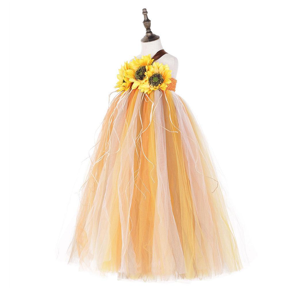 Halloween Kids Girls Sunflower Fall Autumn Pumpkin Color Holidays Tutu Dress