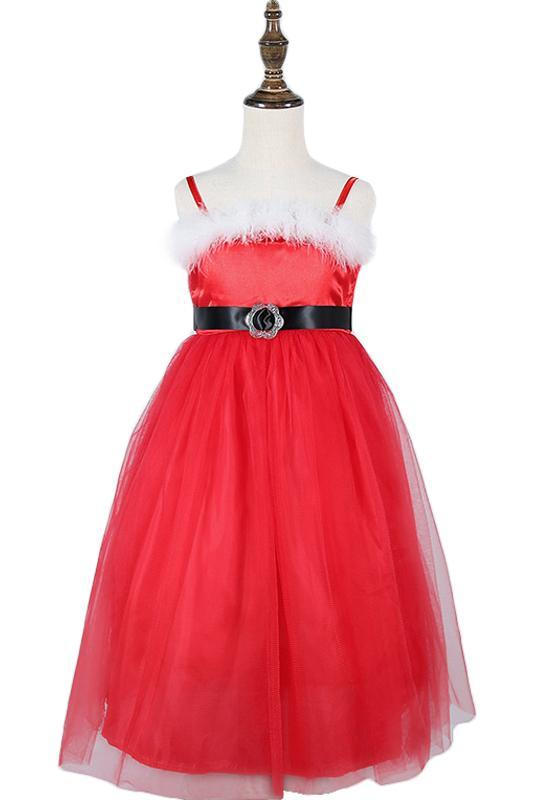 Girl's Christmas Sash Bow Spaghetti Straps Party Dress Up