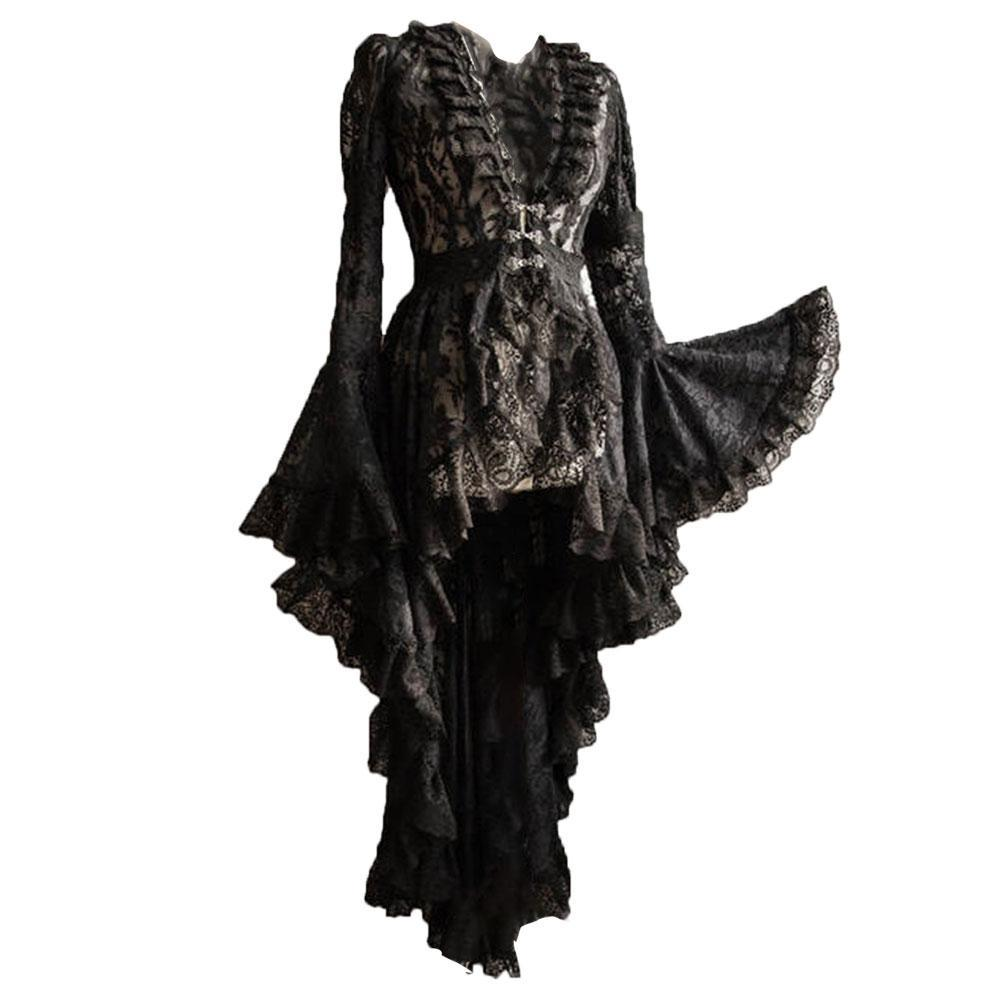 Women Halloween Europe Vintage Lace Tulle Patchwork Flare Sleeve Dress Queen Princess Cosplay Costume
