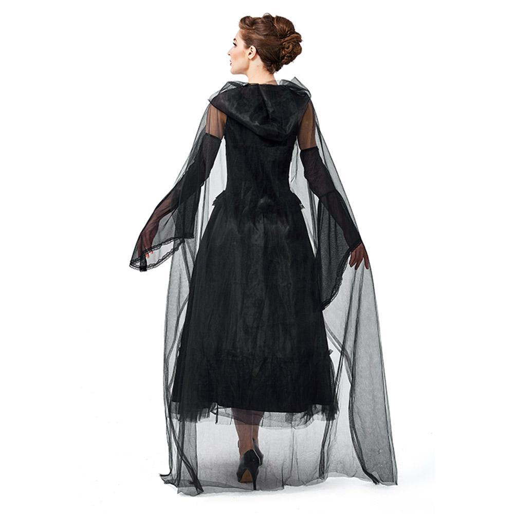 Women's Halloween Costume Black Ghost Zombie Dress Cloak Outfit