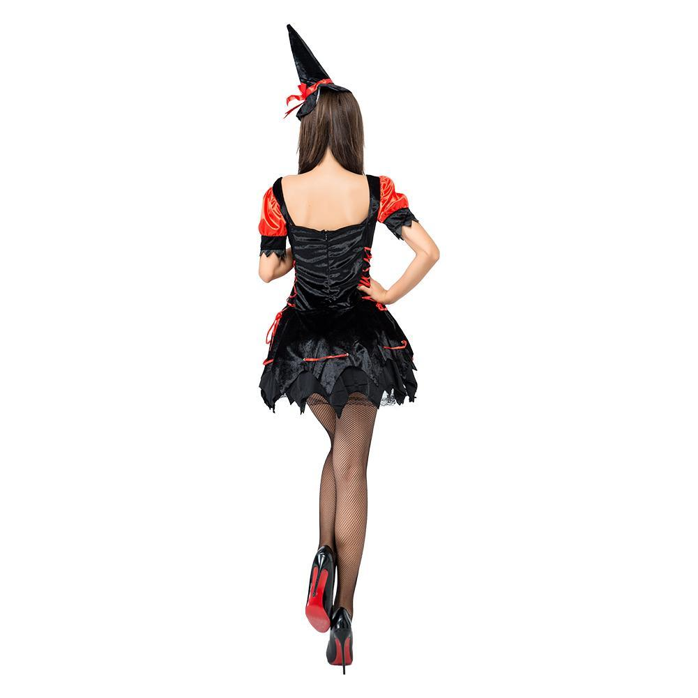 Adult Woman Black Red Hot Sexy Witch Halloween Costume