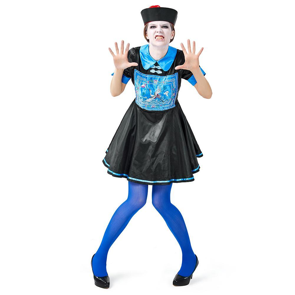 Women Chinese Qing Dynasty Zombie Costume Halloween Cosplay Outfit