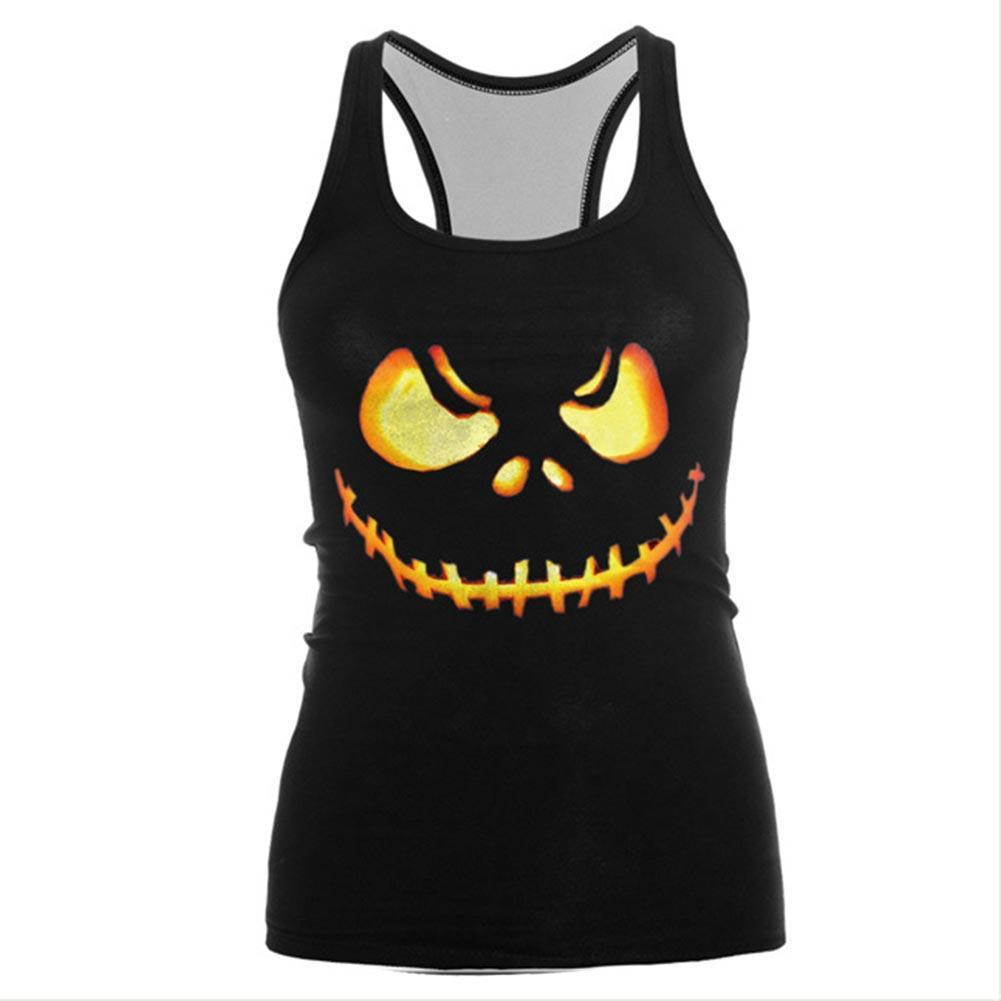 Women Pumpkin O-neck Running Vest Yoga Fitness Shirt Sleeveless Breathable Solid Athletic Sport Tank Tops