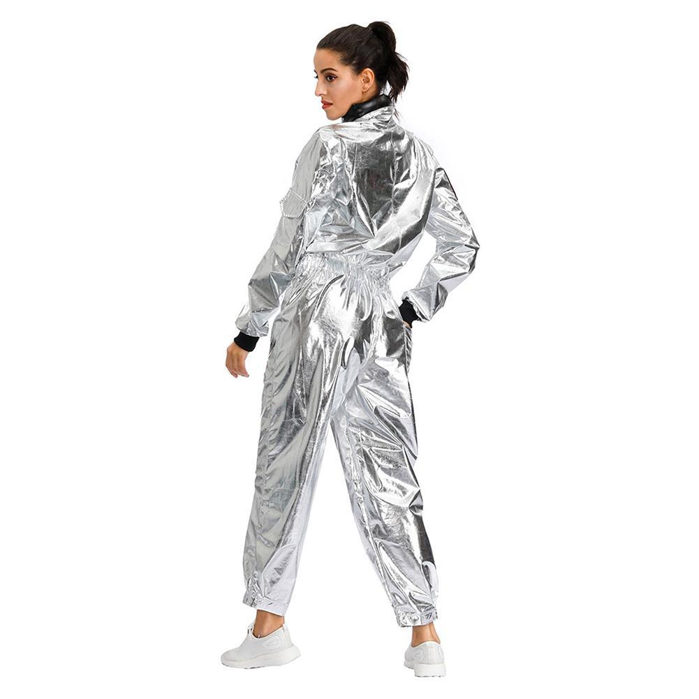 Women Halloween Astronaut Costume Adult Sliver Cosplay Jumpsuit Lady Outer Space Cosplay Costume