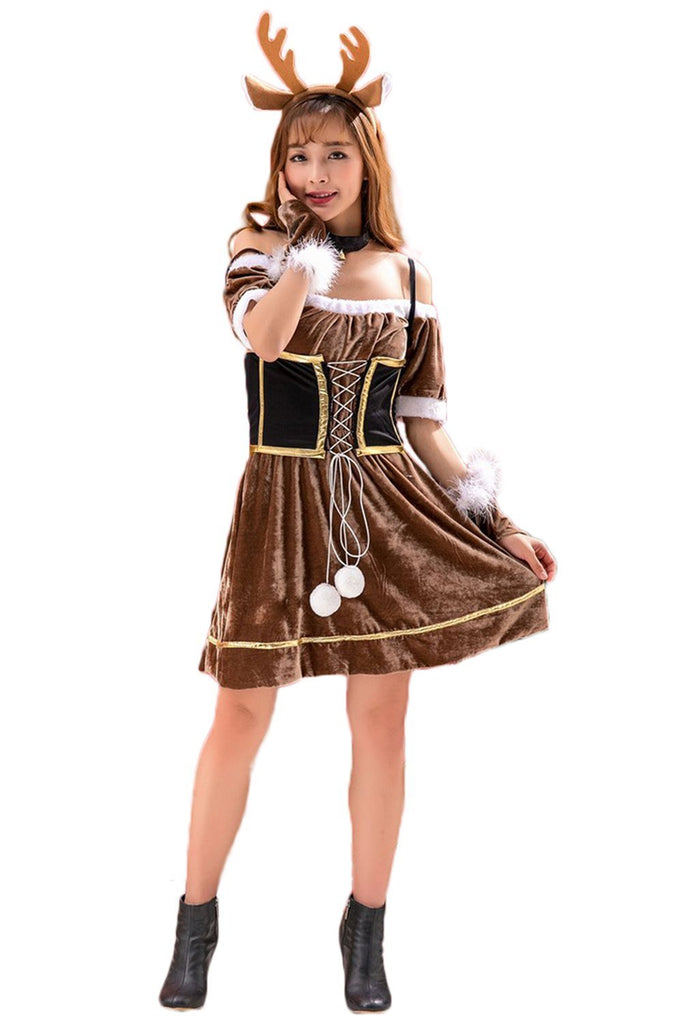 Women Christmas Elk Cosplay Costume Dress