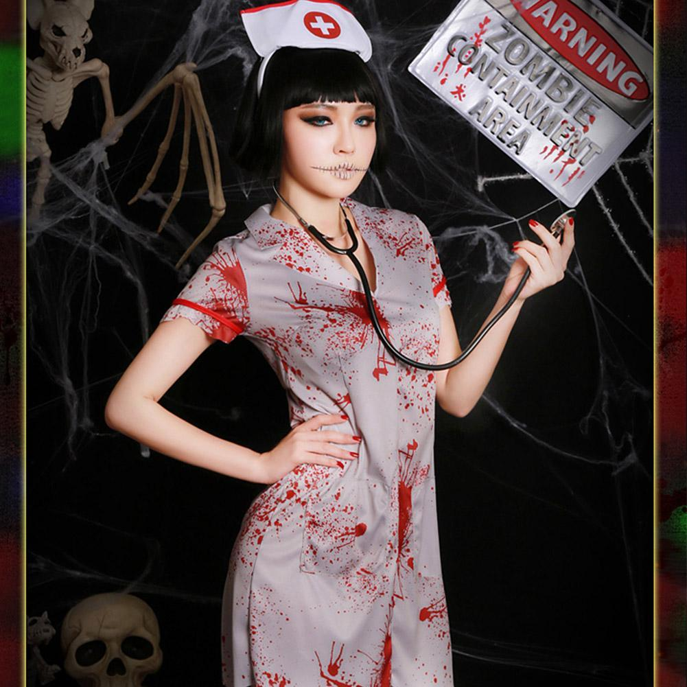Women's Zombie Nurse Costume Halloween Horror Bloody Ghost Nurse Cosplay Outfit