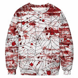 Unisex Halloween Casual Bloody Spider Net 3D Print Long Sleeve Bloodstain Sweatshirt Pullover Top