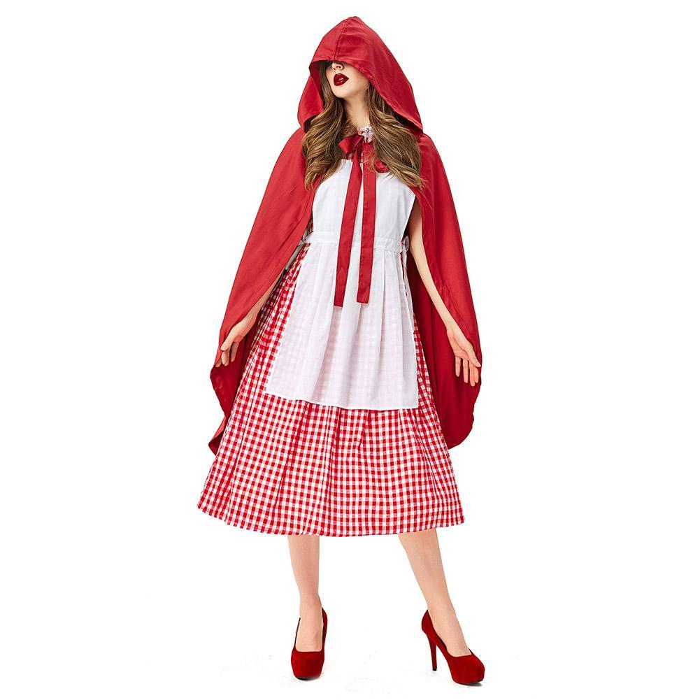 Women Little Red Riding Hood Costume Fairy Tale Cosplay Fancy Dress Holiday Party Halloween Costumes