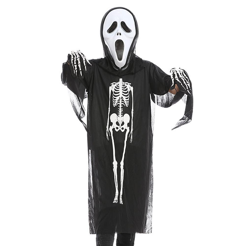 Halloween Scary Skeleton Costumes Scary Ghost for Kids Horror Skull Mask Costume Bodysuit Boys Girls Cosplay Set
