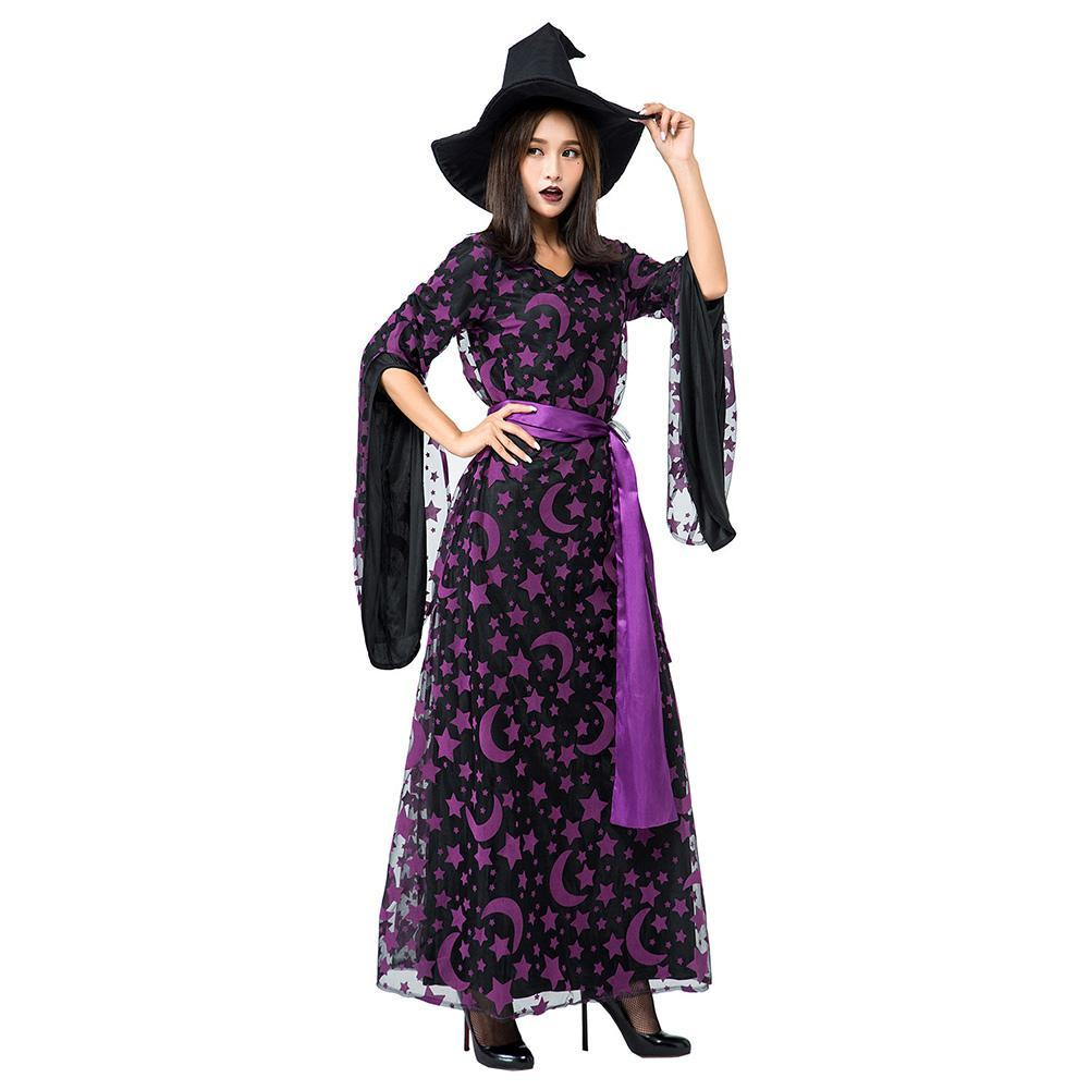 Adult Women Halloween Purple Star Moon Magic Broom Witch Costume Funny Cosplay Outfit Long Dress