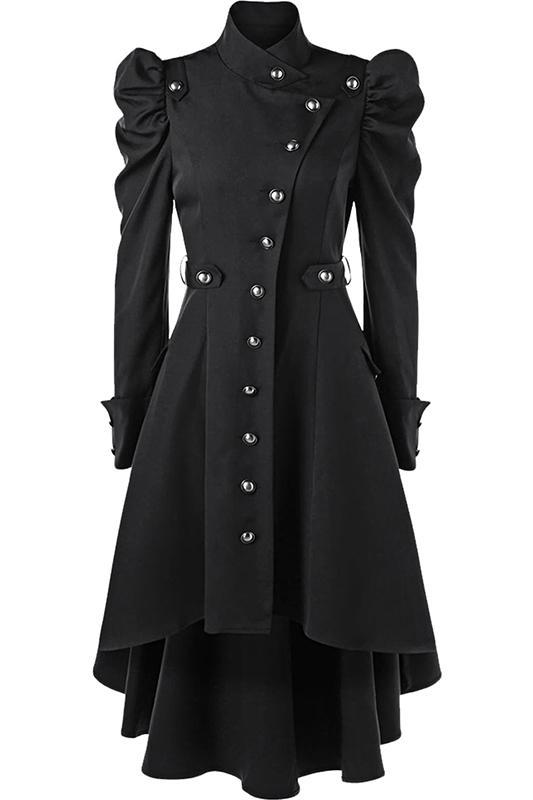 Womens Vintage Steampunk Long Coat Plus Size Gothic Retro Button Jacket Black Maroon