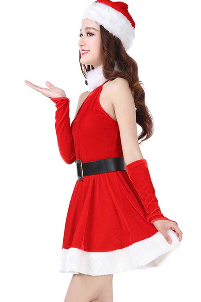 Women Christmas Party Dress Ladies Santa Costume Cosplay Suit