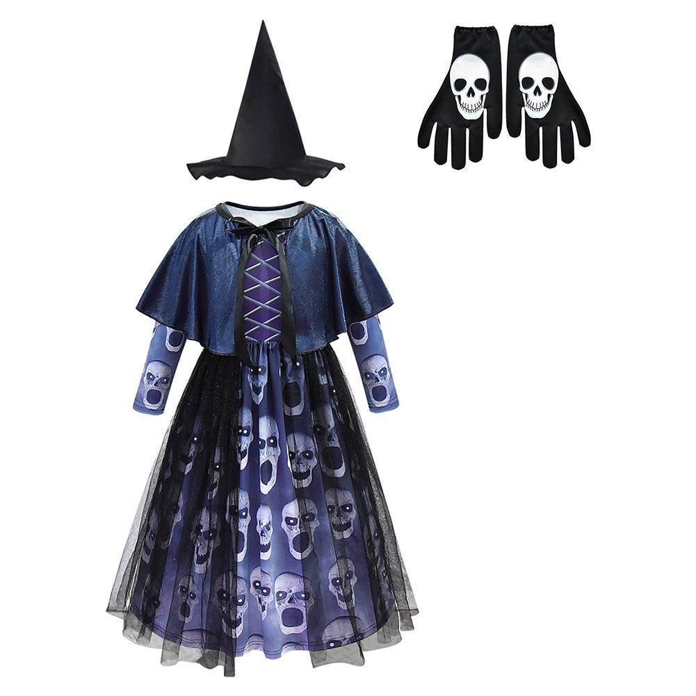 Girls Halloween Witch Dress Ghost Skull Print Devil Fancy Party Dress Halloween Party Dress