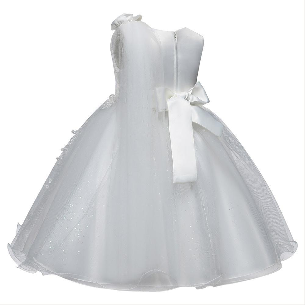 Flower Girl Dress Fancy Tulle Satin Lace Cap Sleeves Pageant Girls Ball Gown White Ivory