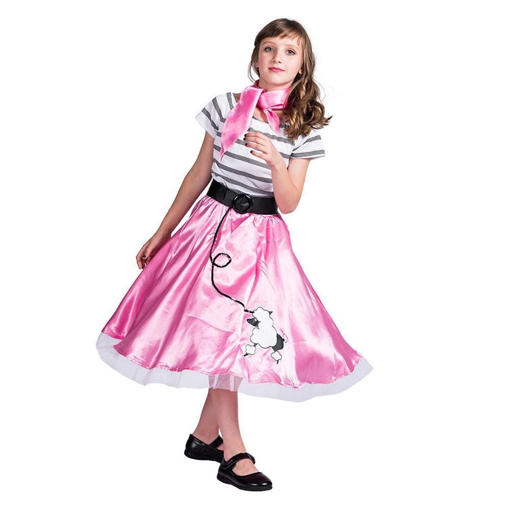 Girls 1950s Pink Poodle Dress and Scarf Costume Evening Wear for Party