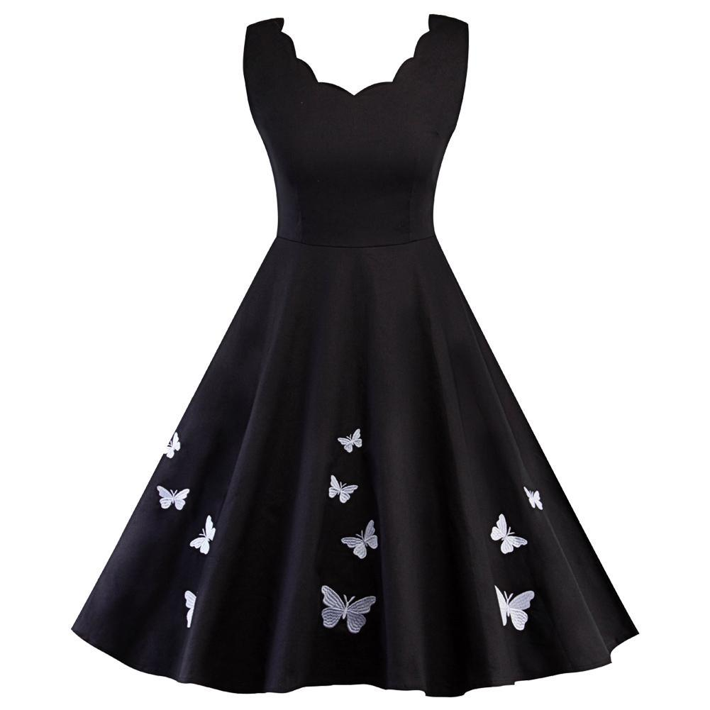 Women's Summer Sleeveless Casual Loose Swing Butterfly Embroidered T-Shirt Dress