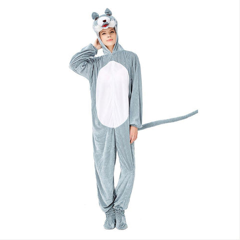 Adult Women Wolf Onesies Pajamas Cosplay Animal Homewear Sleepwear Jumpsuit Costume