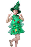 Girls Christmas Tree Costume Dress Toddler Santa Claus Party Costume