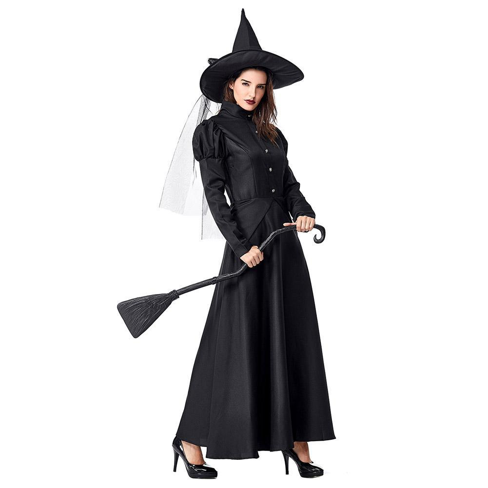 Women Black Witches Dress Costumes Cosplay Halloween Party Dress Costume