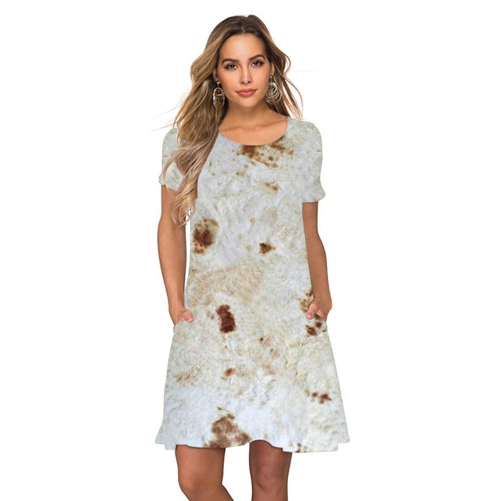 Women's Burrito Casual Swing Loose Dress with Pocket Mexican Pancake Printing Party Formal Dress