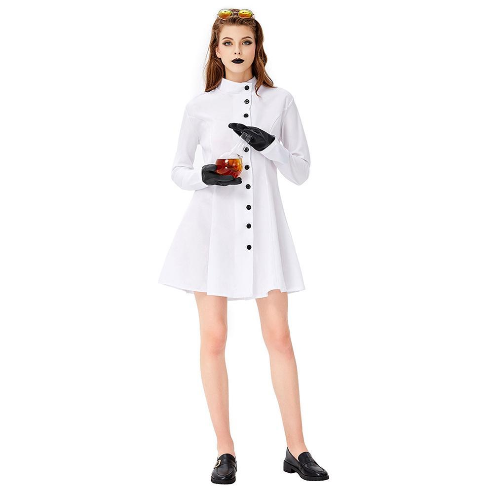 Women Halloween White Lab Coat Long Sleeve Fancy Cosplay Costume