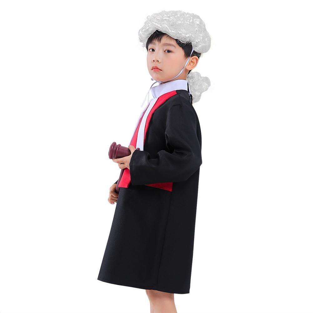 Halloween Boys Judge Role Play Costume Party Stage Performance Cosplay Outfit
