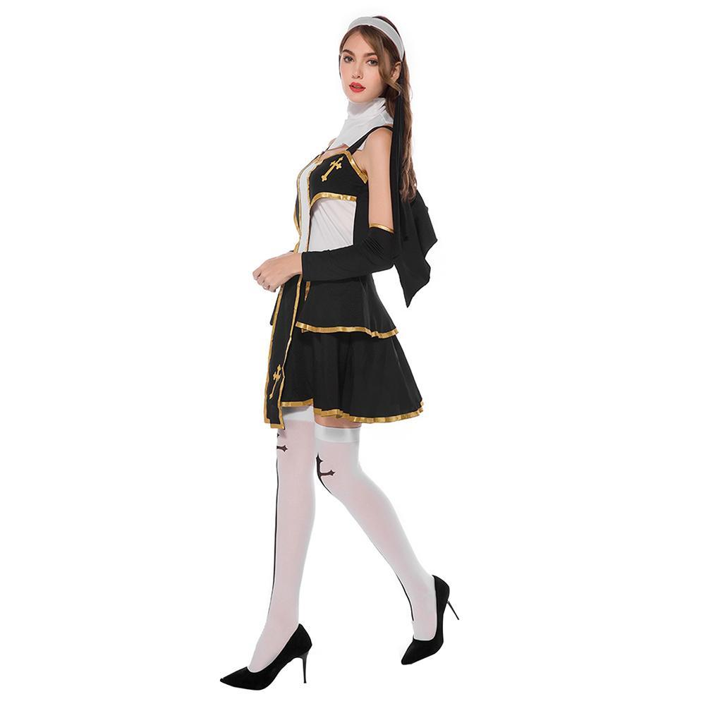Women Halloween Sexy Flirty Nun Cosplay Costume Fancy Stage Performance Outfit