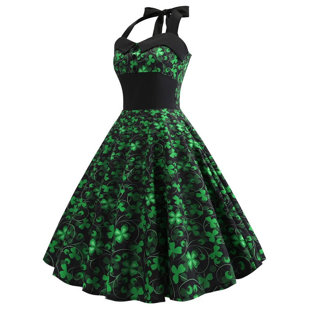 St Patrick's Day Dress, Women Halter Sleeveless Pleated Dress Shamrock Tea Dress a-Line Evening Party Dress