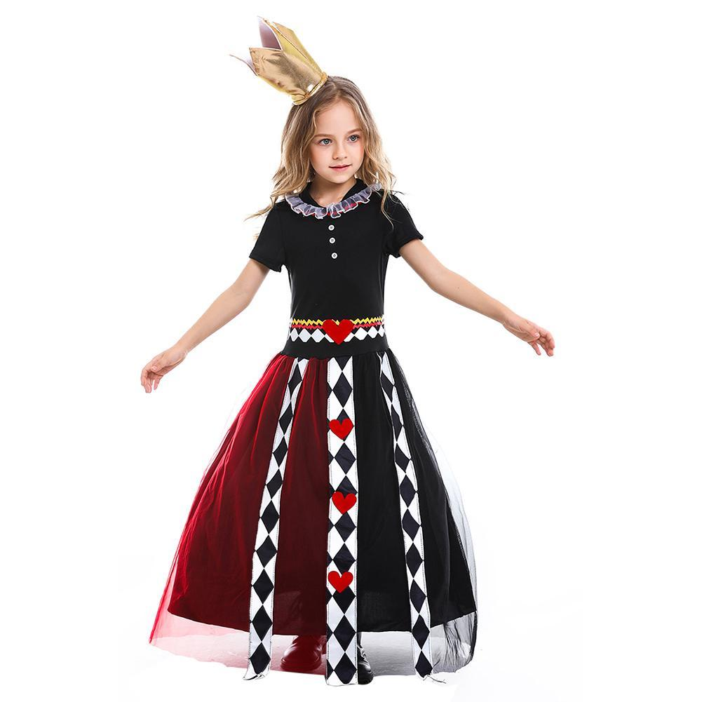 Girls Poker Queen Costume Dress Halloween Cosplay Party Summer Short Sleeve Maxi Dresses