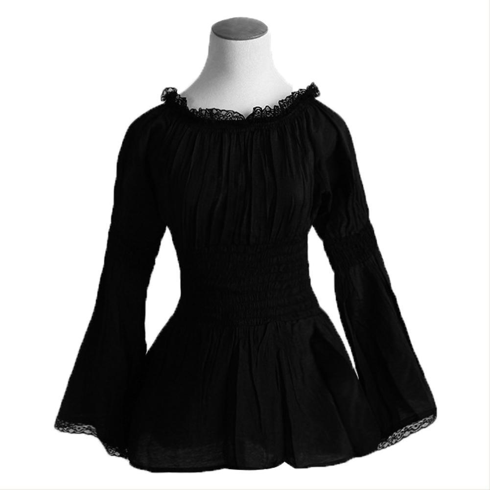 Women Gothic Lace T Shirt Tops Long Sleeve Corset-Style Blouse