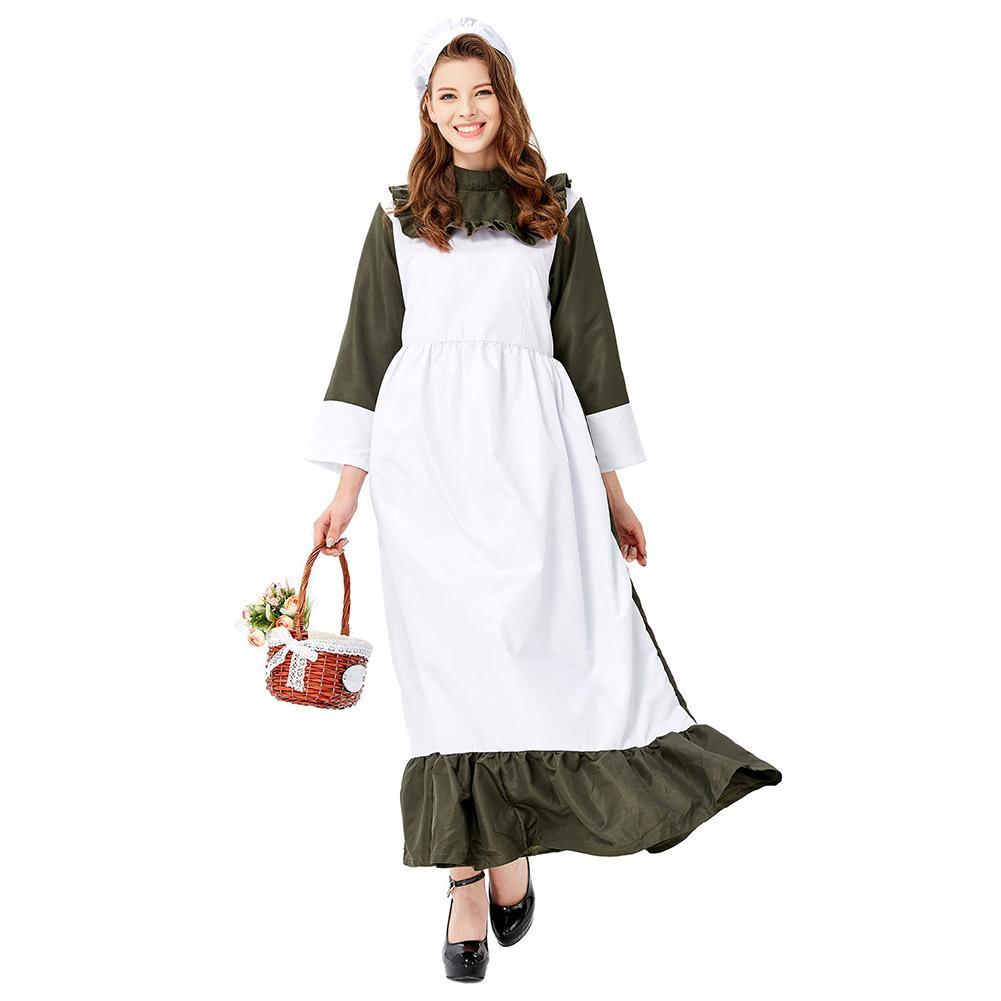 Women Halloween Traditional Housemaid Long Dress Adult Cosplay Party Costume
