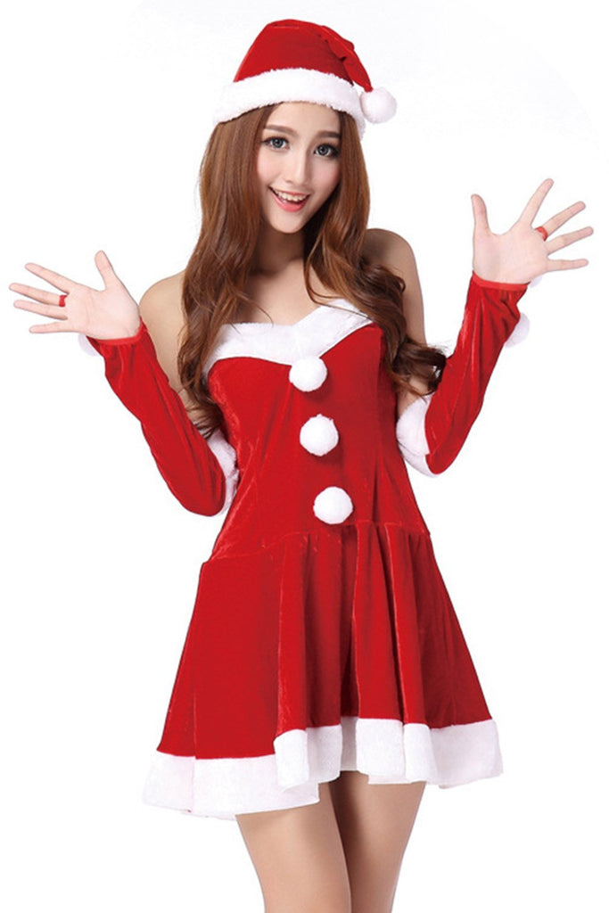Women Christmas Santa Cosplay Costume Princess Dress