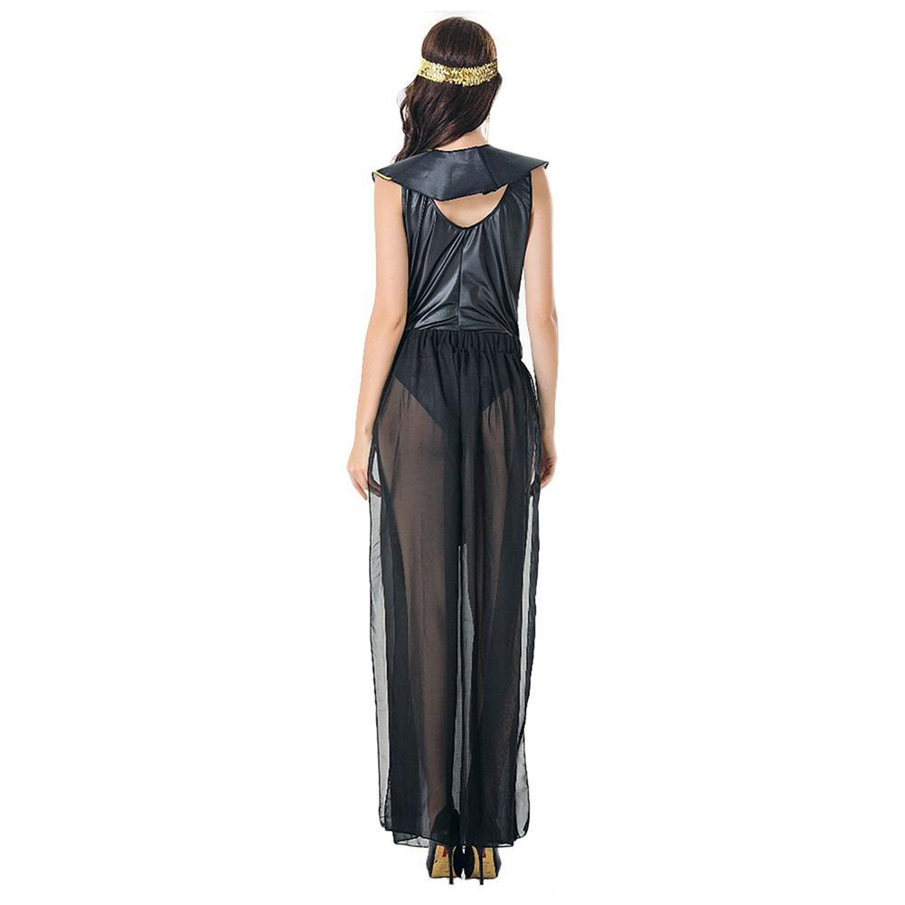 Women Cleopatra Costume Black Sexy Ancient Egyptian Pharaoh Clothing Adult Halloween Party Cosplay Egypt Queen Long Dress