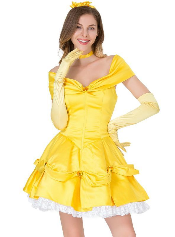 Fairy Tale Yellow Princess Cosply Dress