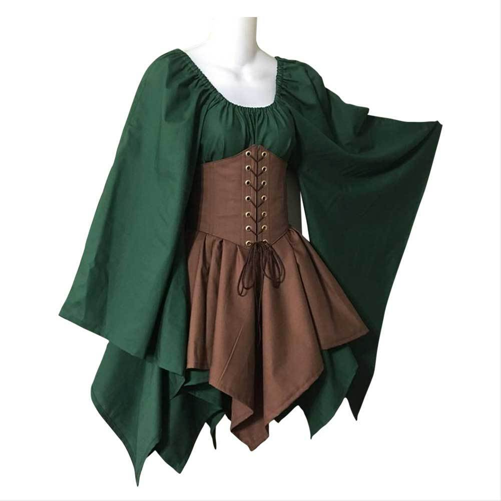 Women Medieval Costume Woodland Wood Elf Fairy Fantasy Waist Cincher Corset Set Top and Jagged Skirts