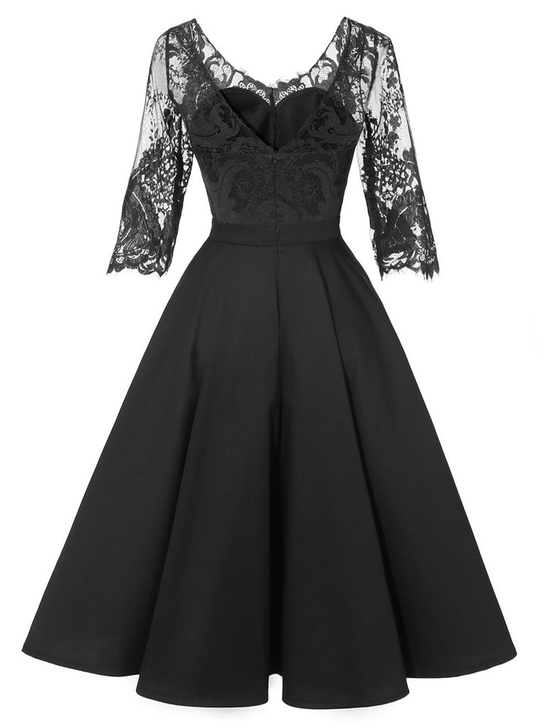 1950s Lace Half Sleeve Swing Dress