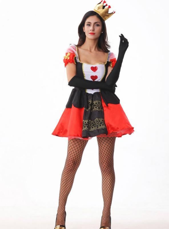 Red Heart Poker Queen Costume Halloween Stage