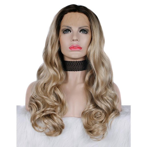 Ombre Blonde Body Wavy Glueless Lace Front Wigs